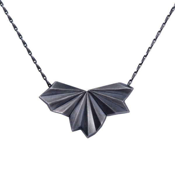Silver necklace, pleated, oxidized paper fan.