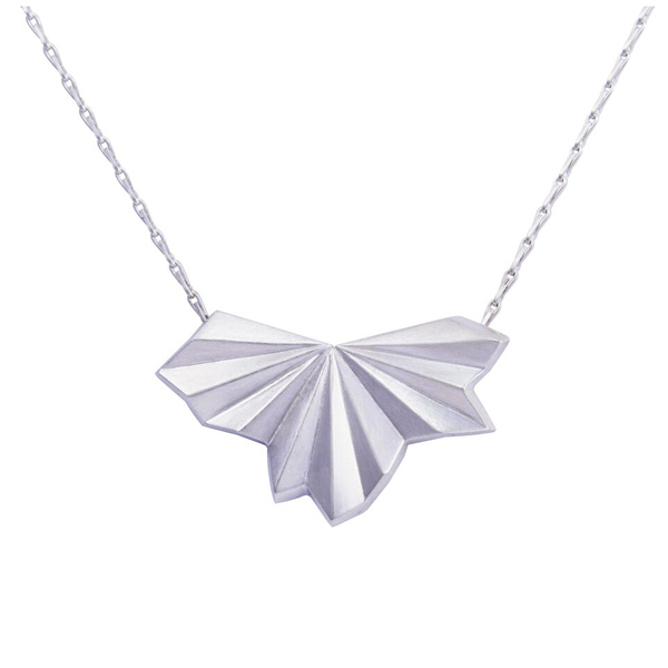 Silver necklace pleated paper fan. NEW!