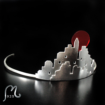 Urban stories. City skyline silver tiara. Replaceable moon.