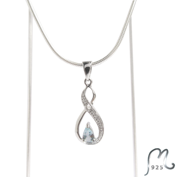 Mothers day gift. Infinity necklace with topaz.