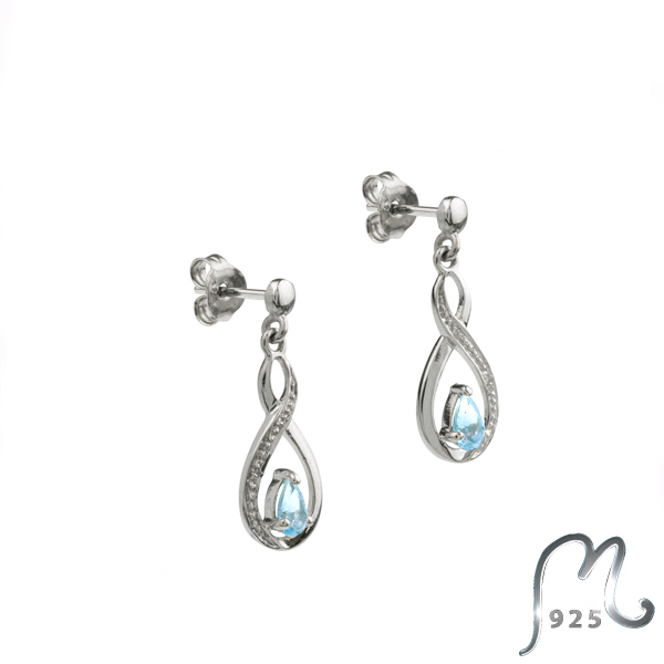 Mothers day gift. Infinity earrings with topaz.