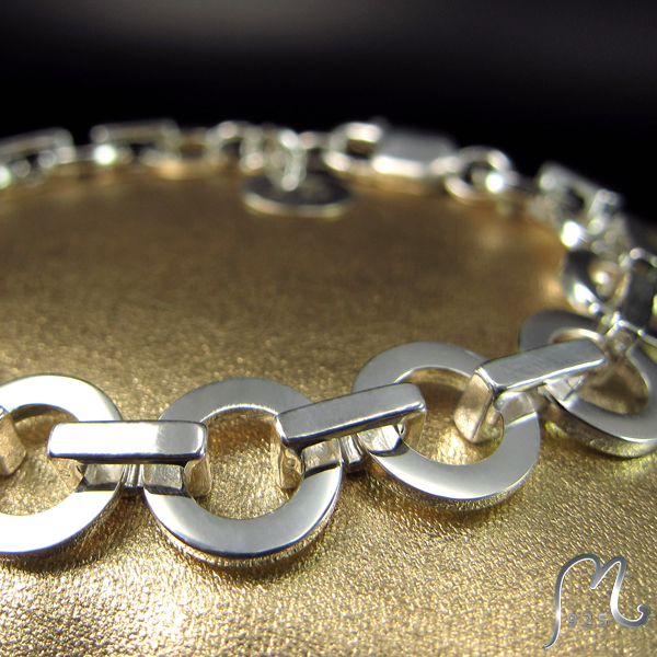 Silver bracelet with rings. Forza.