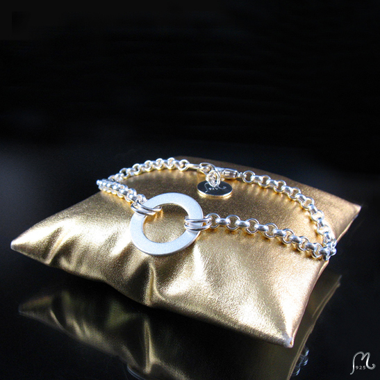 Bohemian luxury. Silver bracelet with ring.