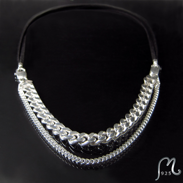 Necklace and bracelet in one. Silver jewellery.