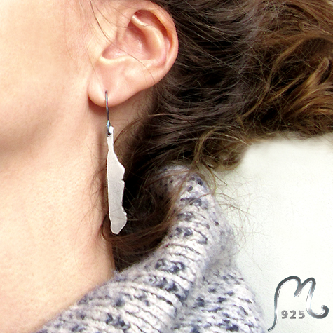 Map jewellery. Personalized silver earring.