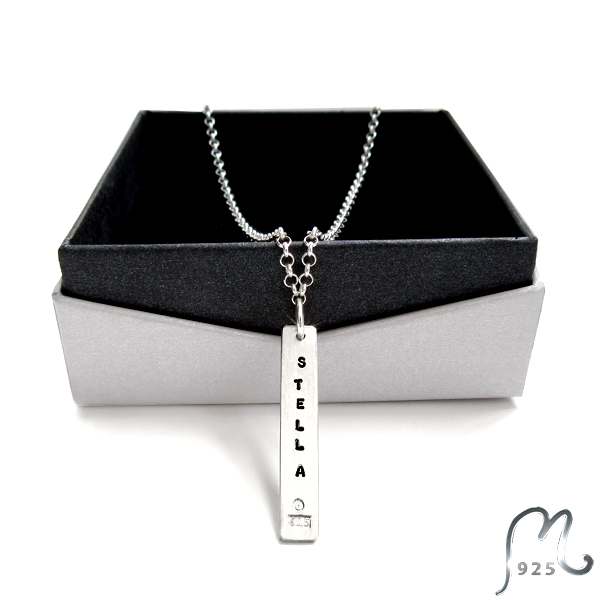 Delicate personalized silver necklace. 1 tag. Engraving included.