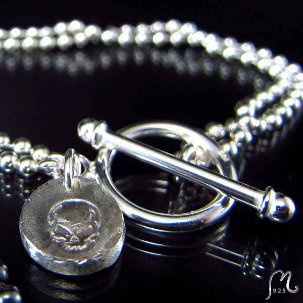 Men's silver bracelet. Symbol of your own choice.