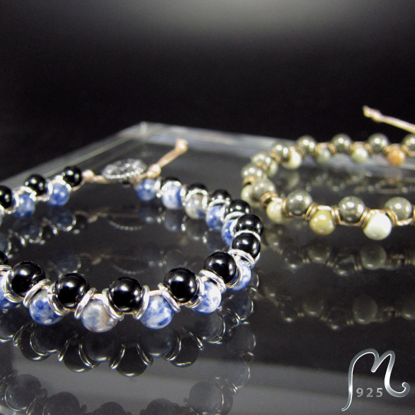 Bracelet with double gemstones. NEW!