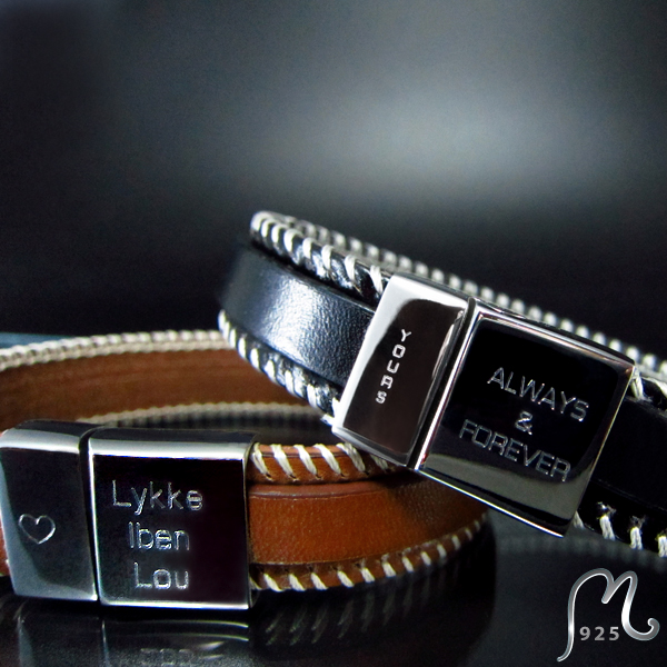 Attractive. Personalized leather bracelet. Two engravings included.