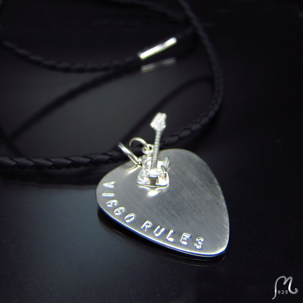 Name necklace silver plectrum on a string. Engraving included.