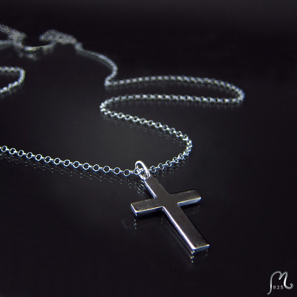Cross silver necklace. Oxidized or not.