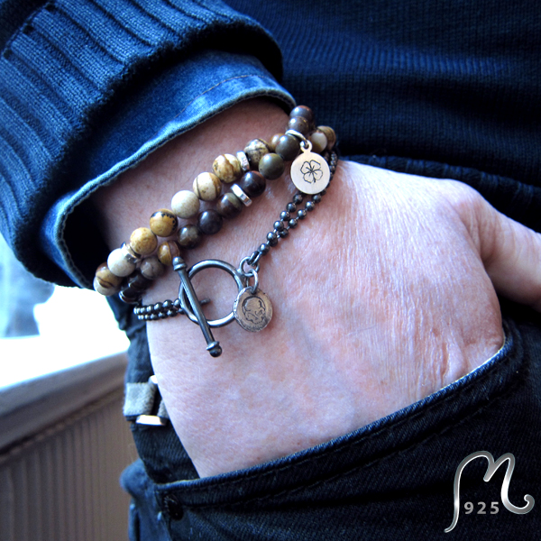 Bracelet with light brown stones (Jaspis).