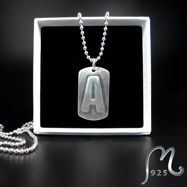 ALPHA. Personalized ID necklace in silver. NEW!