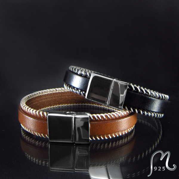 Attractive. Leather bracelet for him.