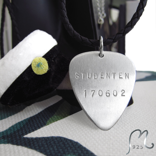Gift for grads. Personalized plectrum necklace.