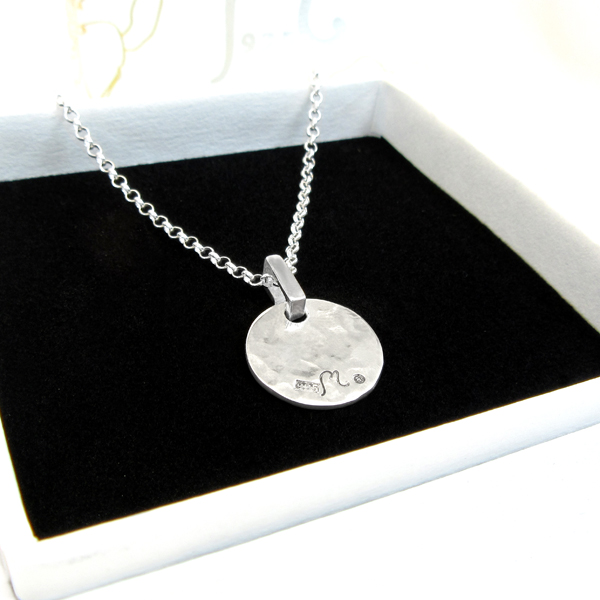 Champagne. ROund silver necklace. Medium.