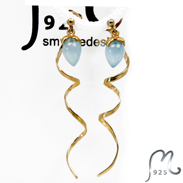 Spiral earrings, gold plated with blue stone. SOLD OUT!