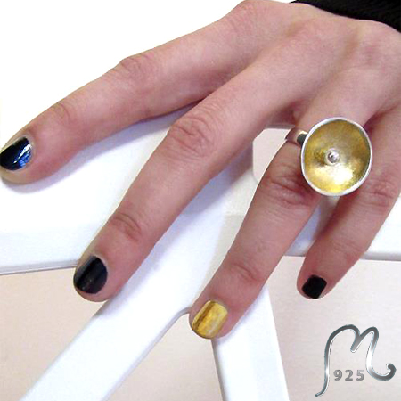 Fields of Gold. Silver ring w. gold leaf. NEW!
