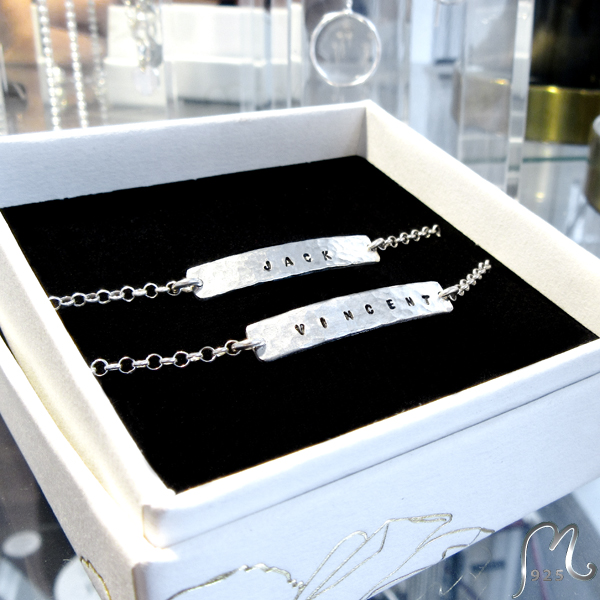 Champagne. Personalized silver bracelet.