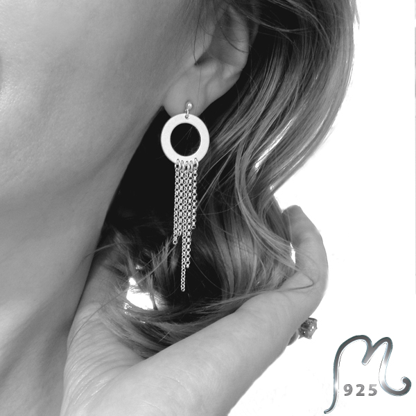 Luxury bohemian. Long silver earrings.