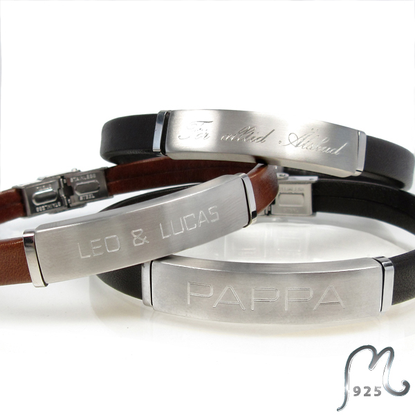 Personalized leather bracelet. Adjustable lenght. Engraving incl.