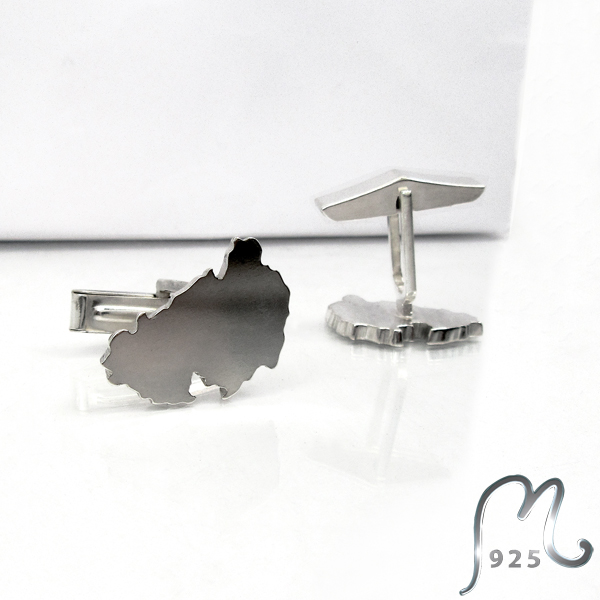 Map silver cuff links.