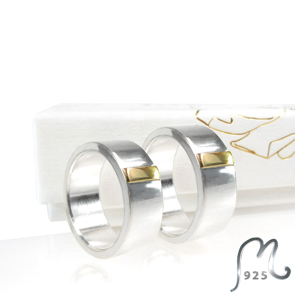 Horizon. Wedding ring in white & red gold. 18 c. NEW!