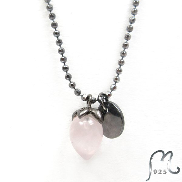Necklace with rose quarts. Oxidized.