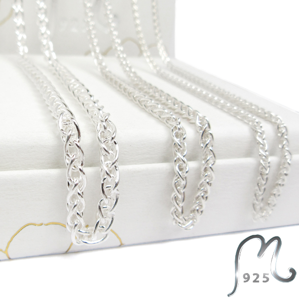 Spiga chain in silver. Three thicknesses.