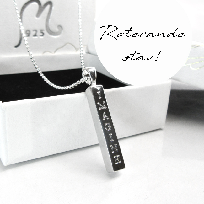 Personalized, rotating rod necklace.