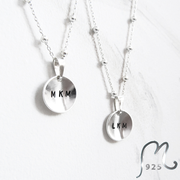 Delicate, personalized silver necklace.